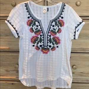 Anthropologie Embroidery Blouse